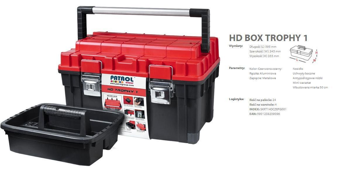 Ящик для инструмента PATROL HD ТРОФИ 1 черно-красный 60x35x35cm